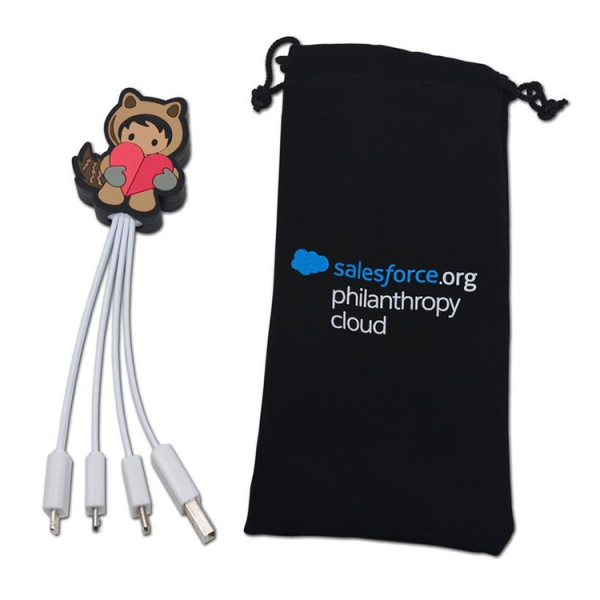 Brand logo custom made human shaped soft pvc multi 4-in-1 usb charger cable