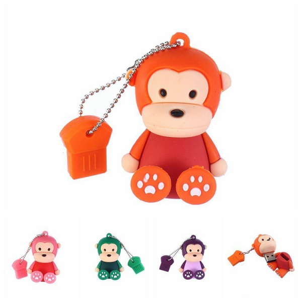 Cartoon cute customised sitting monkey shapes usb flash drive pen pen drive 4gb 8gb 16gb
