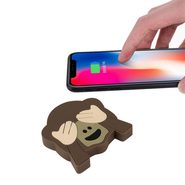 Custom Monkey shaped Qi iphone x pvc wireless charger pad 10w