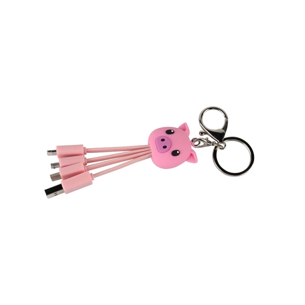 Custom pvc shape trend keyring cable type c micro usb multi function 4 in1 3 in1 fast charging pd charger keychain cable