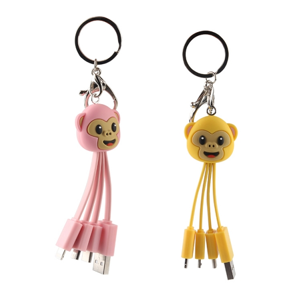 Customized 3 in 1 Funny Monkey shape multi USB Charging Cable