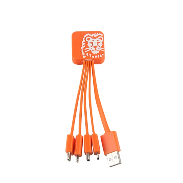 Customized Lion Made Multiple 4 in 1 USB Charger Cable For Corporate Gift