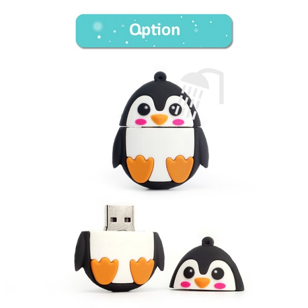 Customized PVC Penguin Shape animal USB Sticks