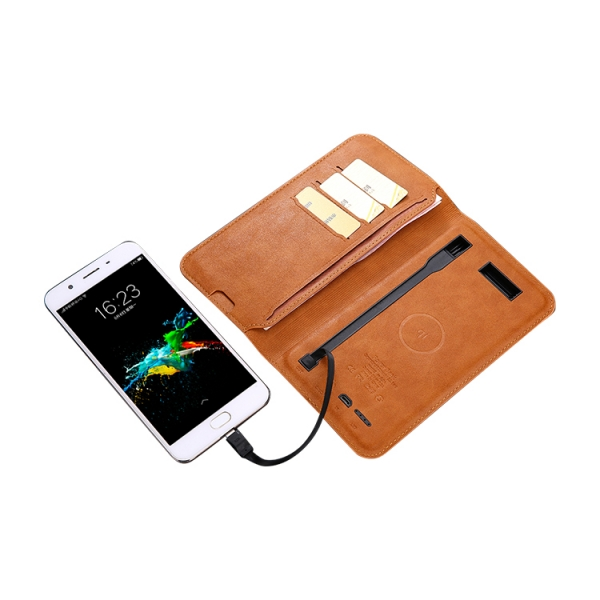 Qi best wallet  portable 5w PU leather wireless charger power bank 5000mah