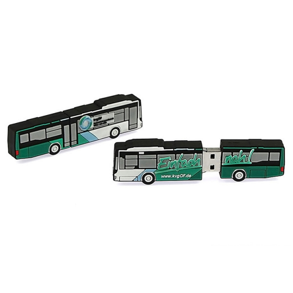 Wholesale personalized silicone pvc city bus shaped usb stick flash drives