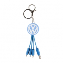 Bespoke Soft PVC 3-in-1 multi usb charger cables keyring