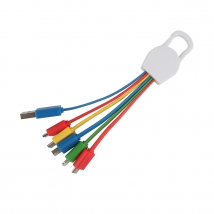 Markenlogo-Multiadapter 6 in 1 USB-Ladekabel mit Karabinerhaken