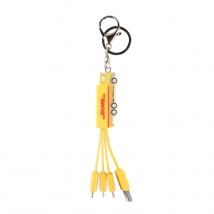 Custom DHL design pvc multi adaptor 3 in 1 usb charging cable with keychain