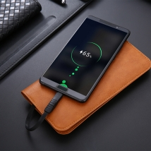 Custom PU leather wallet wireless charger power banks  5200mah