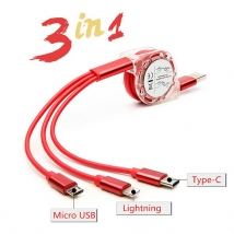 Benutzerdefiniertes Logo Multi 3 in 1 ausziehbares Micro Typ c iPhone Lightning USB-Ladekabel