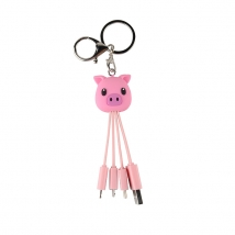 China Custom personalised pig shaped phone charger 3 in 1 data pvc charging cable factory