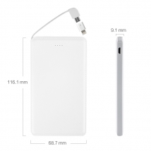 Promo gift slim 5000mah power bank built-in usb cable